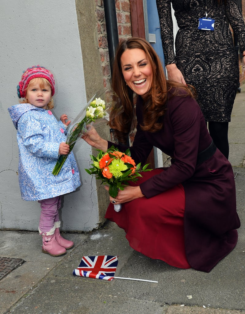 Kate Middleton couldn't stop laughing during her meeting with 2-year-old Lola Mackay at a British hospital in October 2012. When she got down to accept the little girl's bouquet of flowers, Lola decided she would rather keep them for herself!