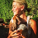 Julianne Hough snuggled up with her sweet King Charles spaniel. Source: Instagram user juleshough