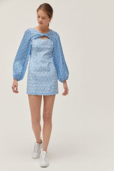 C/meo Collective Come Across Long Puff-Sleeve Minidress