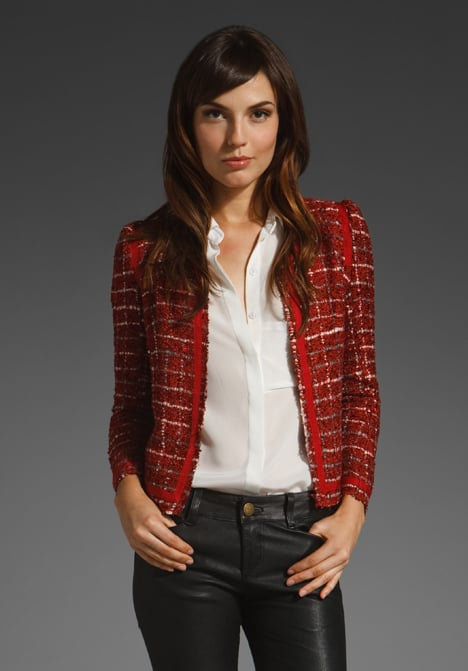 Ladylike tweed that gets offset in a fiery red hue and perfectly distressed finish.   Of Two Minds Jaki Tweed Hue Jacket ($455)