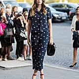 Make Your Pajama-Inspired Outfit Daytime Appropriate With a Pair of Heels