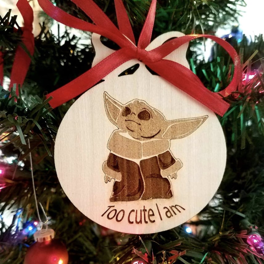 Baby Yoda Ornament from Knots and Knots on Amazon