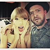 "Justin captioned this funny photo, ""That moment when you and Taylor were just doing what you do before you go onstage . . ."""