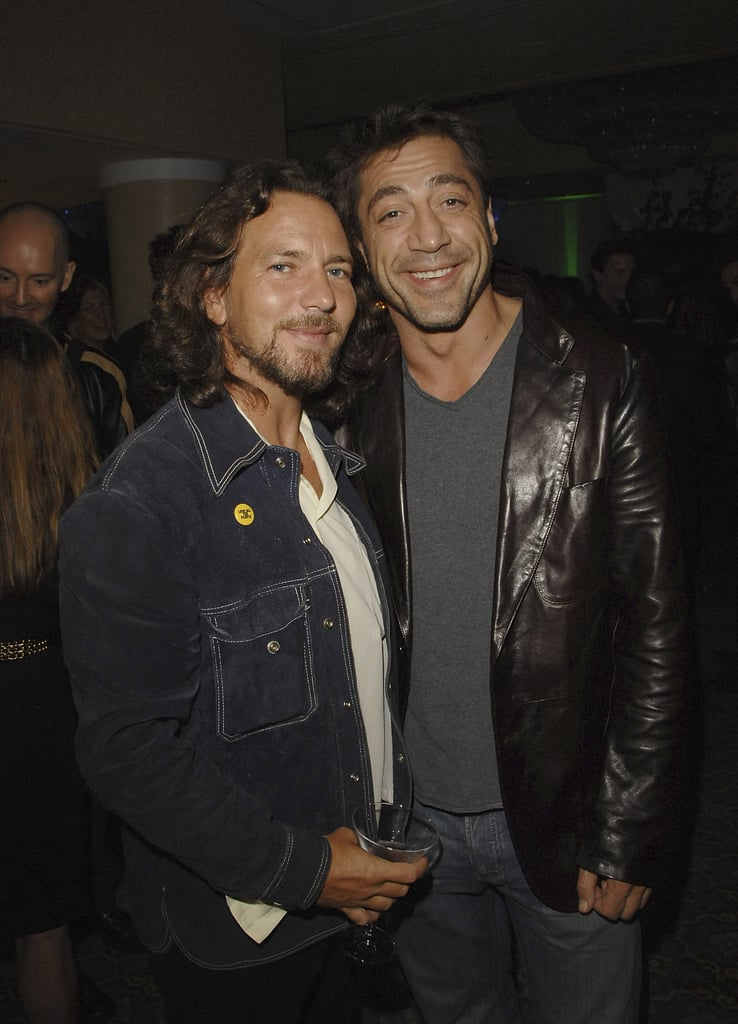 Eddie Vedder and Javier Bardem hung out during 2007's Into the Wild after party.