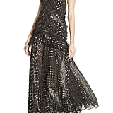 Self-Portrait Metallic Polka-Dot Chain Strap Dress