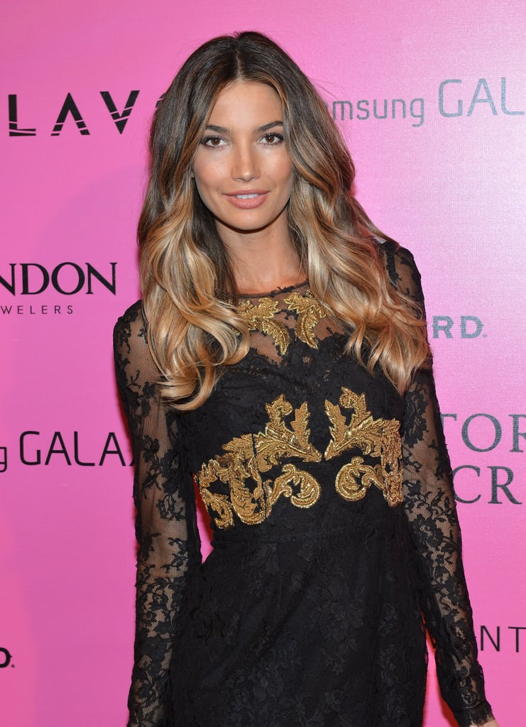 Lily Aldrige posed for photos at the Victoria's Secret Fashion Show after party in NYC.