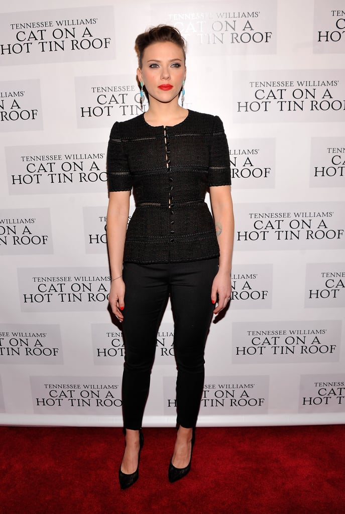 Scarlett Johansson had a big night in NYC yesterday when she hit the red carpet to celebrate the opening of Cat on a Hot Tin Roof at the Richard Rodgers Theater. She wore a black Dolce & Gabbana outfit after taking the stage in character for her second-ever Broadway run, following her 2010 appearance in A View From the Bridge. Scarlett's turn as Maggie is getting great reviews and she had plenty of support in the audience with White Collar's Matt Bomer, Nick Jonas, as well as Daniel Craig and Rachel Weisz all stepping out for the performance. Daniel and Rachel are back on the East Coast after they made a glamorous stop at the Golden Globes on Monday.