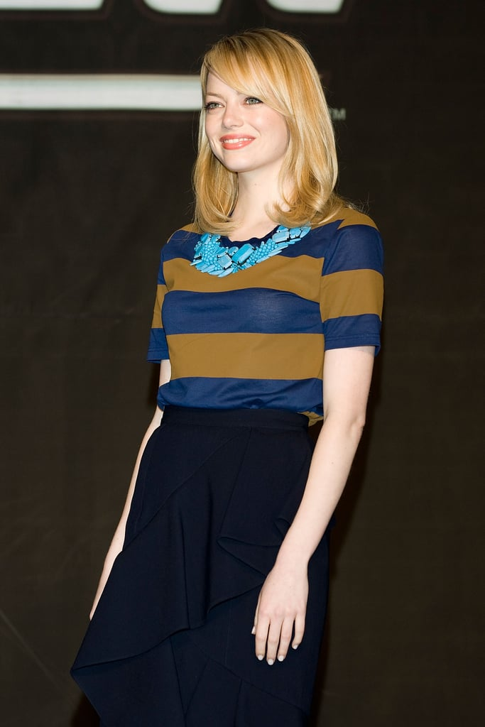 Emma Stone wore an outfit from Burberry Prorsum in Seoul, South Korea.