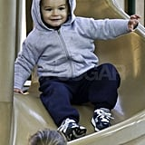 Benjamin Brady caught a ride on a slide.