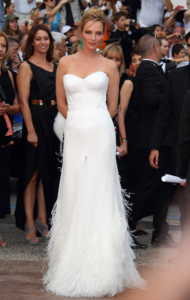 Uma Thurman wore a white fringed Versace gown to the 2011 Cannes premiere of Midnight in Paris.
