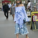 A midi ruffled denim skirt isn't a piece you see every day, so style it with a dramatic top too for extra effect.