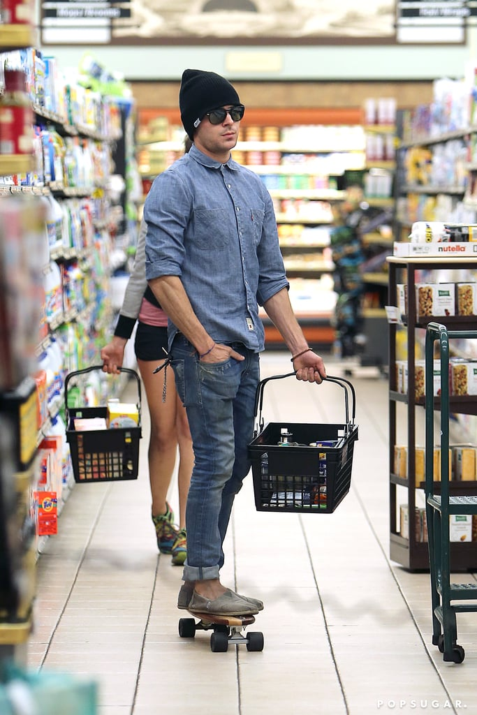 Zac skateboarded through the store.