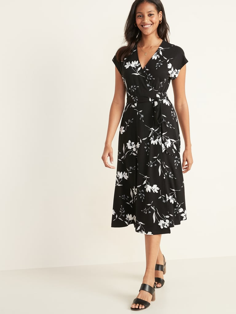 Wrap-Front Dolman-Sleeve Midi Dress in Floral