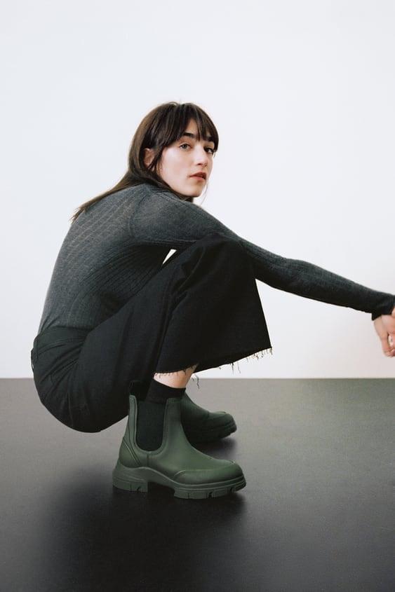 Zara Low Heel Rubberized Ankle Boots