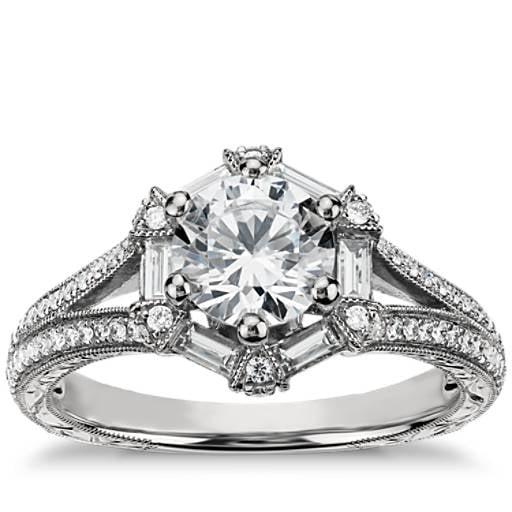 Monique Lhuillier Baguette Hexagon Engagement Ring