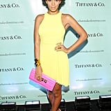 We love Solange in this bright yellow Christopher Kane dress — she kept the colorful-cool vibe going with purple Fendi shoes and a hot-pink CC Skye clutch.