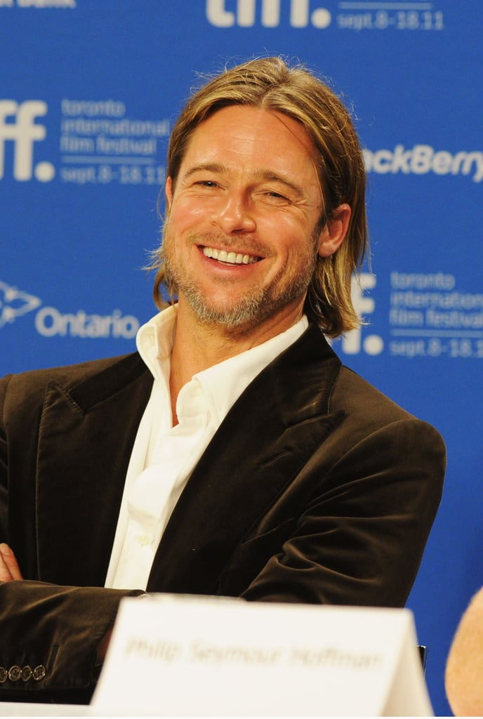 Brad Pitt laughed at Moneyball press conference.
