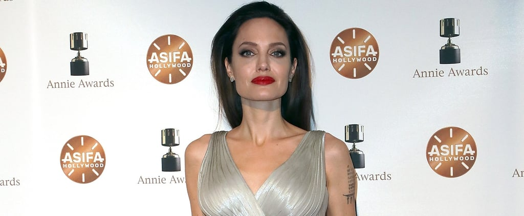 Angelina Jolie's Silver Dress Has a Hidden Slit You Might Not Catch at First