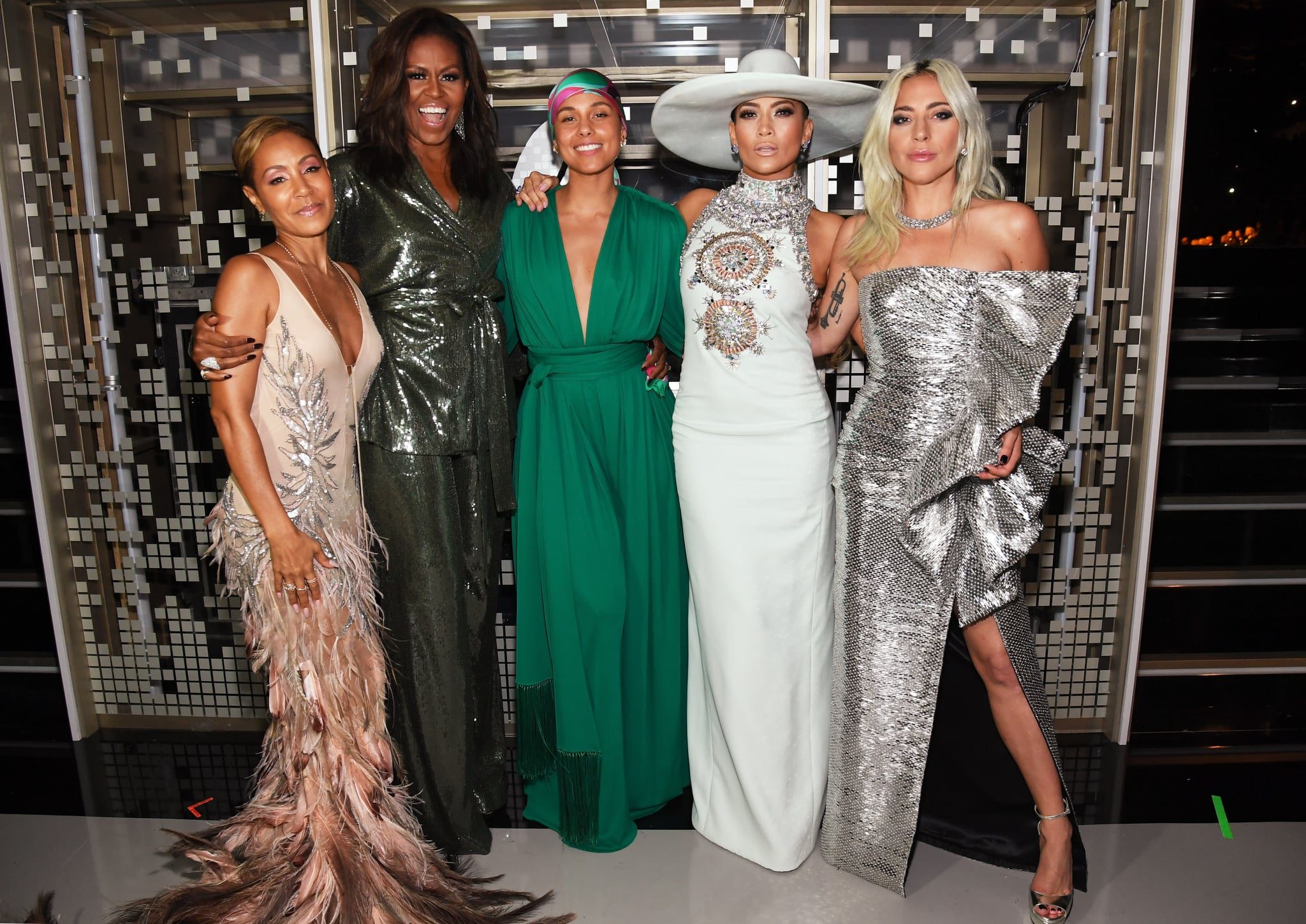 LOS ANGELES, CA - FEBRUARY 10:  Jada Pinkett, Michelle Obama ,Alicia Keys, Jennifer Lopez,   and  Lady Gaga  backstage during the 61st Annual GRAMMY Awards at Staples Centre on February 10, 2019 in Los Angeles, California.  (Photo by Kevin Mazur/Getty Images for The Recording Academy)