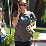 Amy Adams flashed a smile while chatting on the phone in LA on Tuesday.