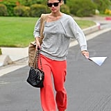 Rachel Bilson carried her script to work.