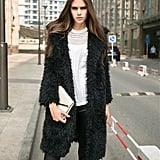 Gloria JR Fuzzy Faux Lamb Fur Coat