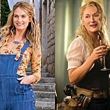 Lily James and Meryl Streep as Donna