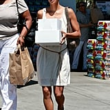 Halle Berry toted some boxes into Nahla Aubry's school.