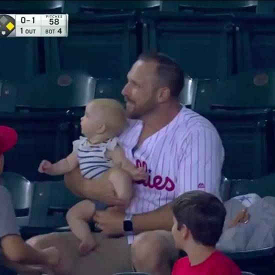 Dad Catches Foul Ball While Holding Baby at Phillies Game