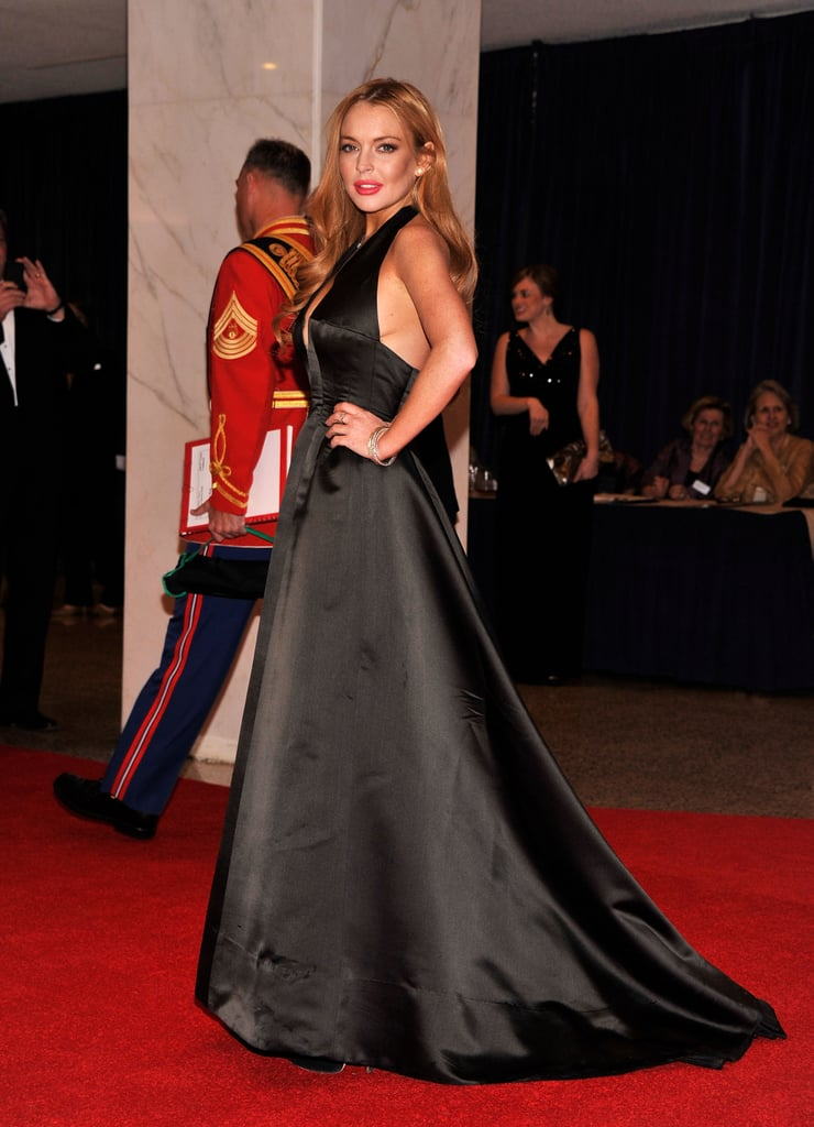 Lindsay Lohan posed in a gorgeous black gown.