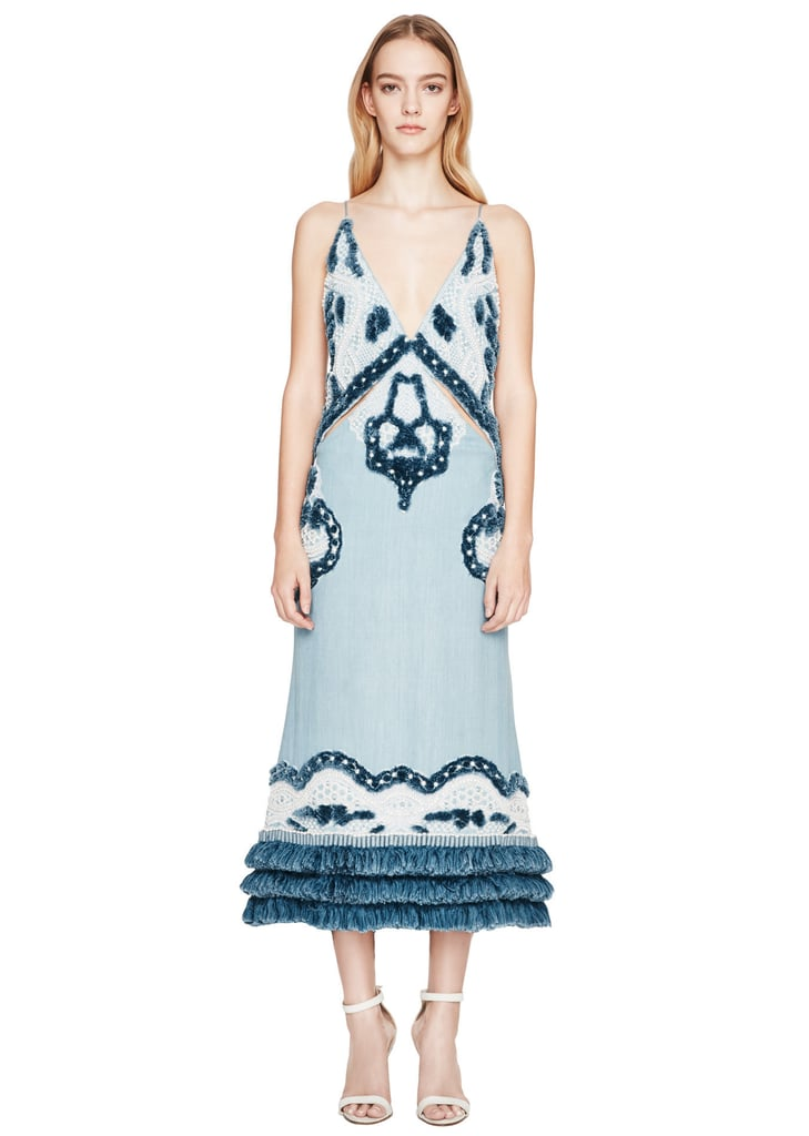 Pearls are reminiscent of all things oceanic, so splurge on Jonathan Simkhai's Pearl Denim Double Strap Midi Dress ($7,950), which will surely steal the show.