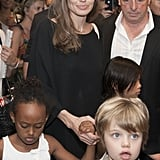 Angelina Jolie kept Pax, Zahara, and Shiloh as they left Sarajevo for Bosnia and Herzegovina in July.