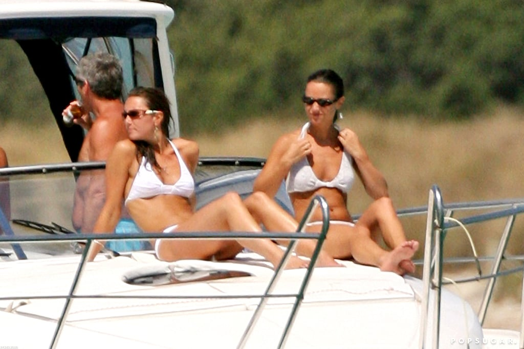 Kate and Pippa Middleton lounged on a boat in the Mediterranean Sea wearing white bikinis during a September 2006 trip.