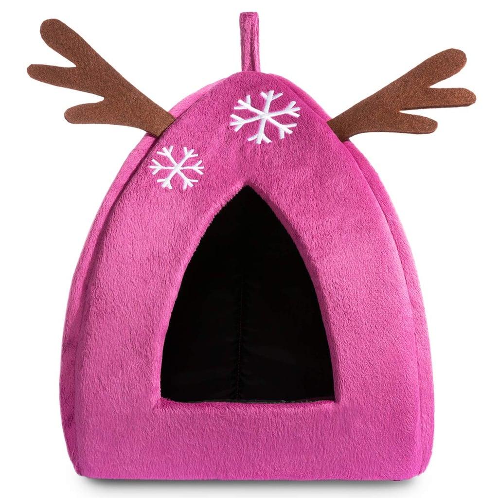 Hollypet Self-Warming 2-in-1 Cat Bed — Pink Reindeer