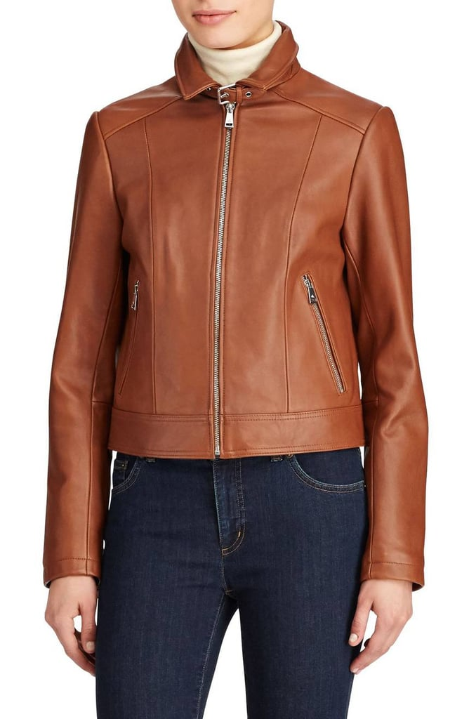 a2a546c40d3f Lauren Ralph Lauren Women s Shirt Collar Leather Jacket