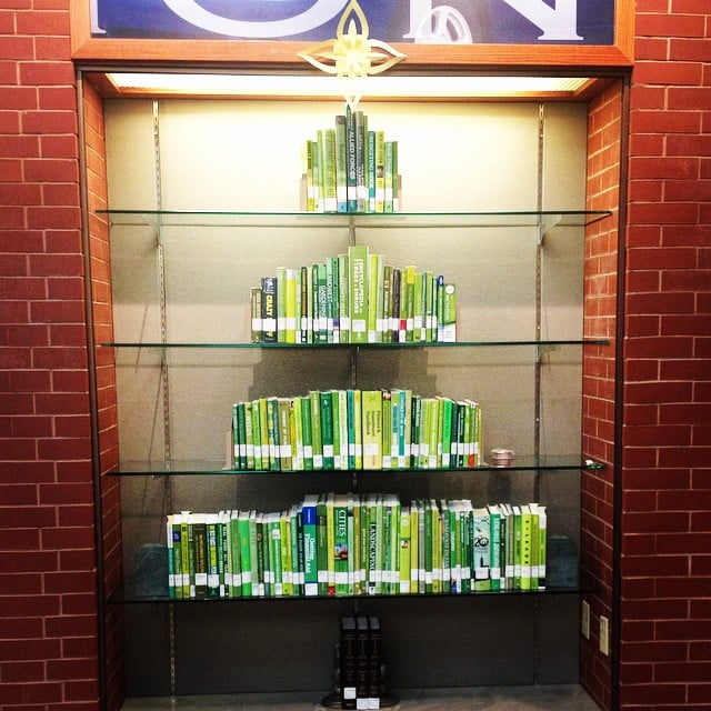 Or, if you have bookshelves, line up your books in the shape of a tree. Bonus points if you use all-green bindings.