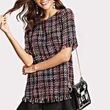 Shein Contrast Ruffled Tweed Dress