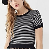 Project Social T Lily Striped Lettuce-Edge Top