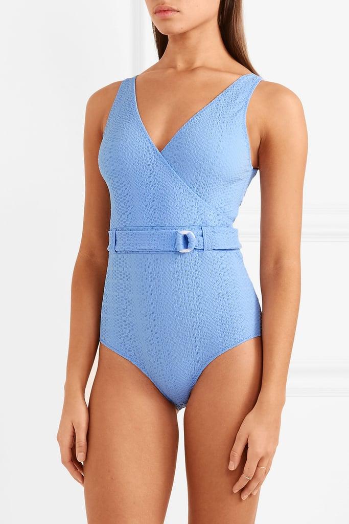 Lisa Marie Fernandez Yasmin Belted Seersucker Swimsuit