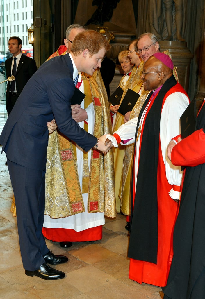Earlier in the day, he attended a Thanksgiving Service for Nelson Mandela at Westminster Abbey, where he met Desmond Tutu. Keep reading for more pictures from Harry's royal visit.