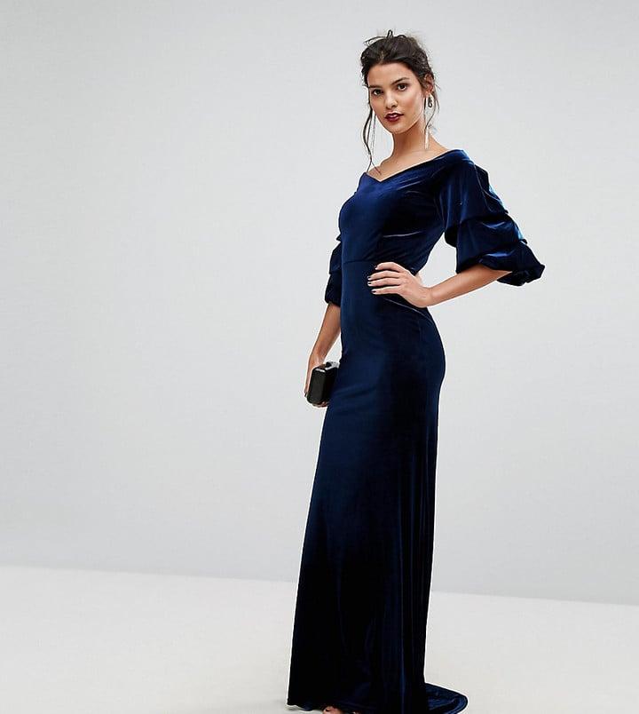 4e8ede7ad7 TFNC Velvet Maxi Dress With Frill Sleeve | Best Velvet Party Dresses ...