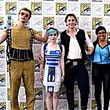 C-3PO, R2-D2, Han Solo, and Lando
