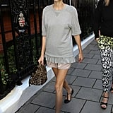 Alexa Chung outfitted a charming casual look, complete with a pair of Valentino t-strap flats.
