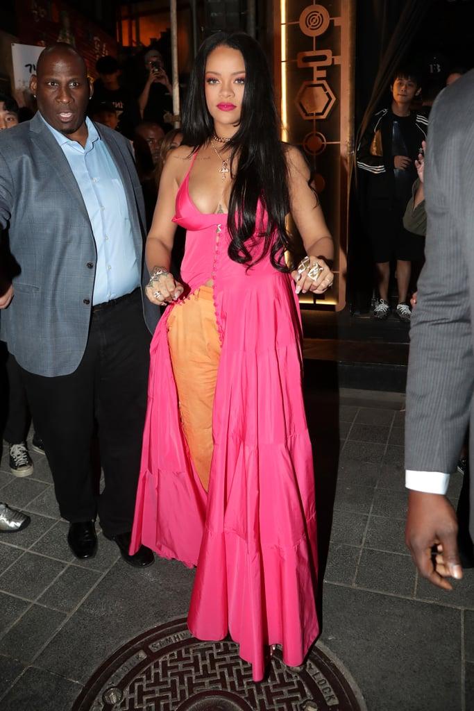 Rihanna Wearing a Pink Dress and Orange Pants in Seoul