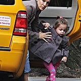 Sarah Jessica Parker helped one of her twins out of a cab.
