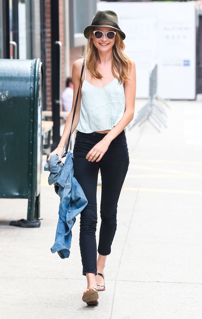 Behati Prinsloo took her basic pieces to new heights thanks to her hat and white sunglasses.