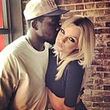 "Jessica Stam got a smooch from her ""onscreen boyfriend,"" British rapper Theophilus London. Source: Instagram user jess_stam"