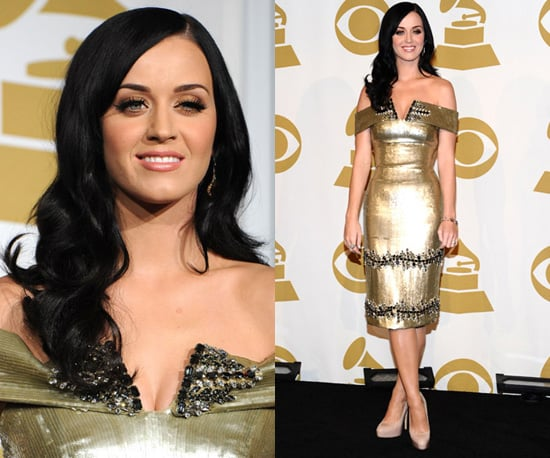 Photos of Katy Perry in a Gold Dress at Grammy Nominations Concert