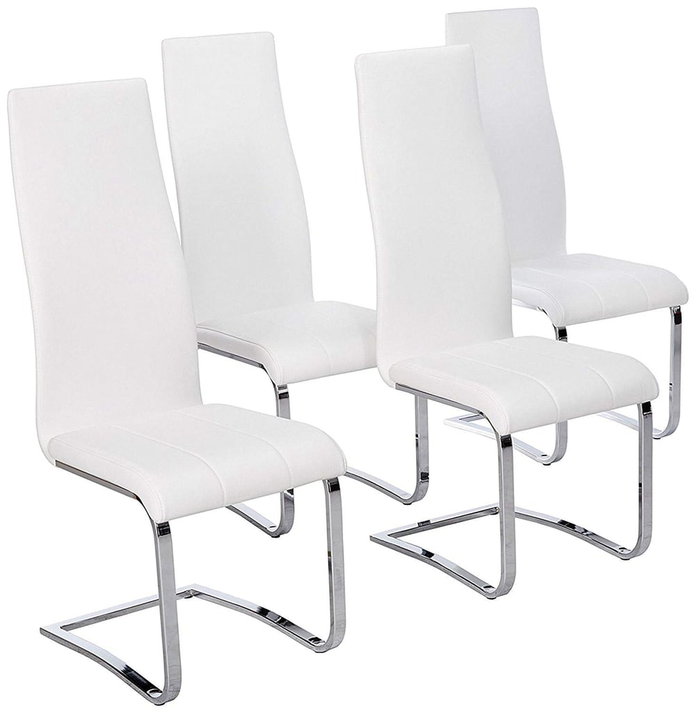 Faux Leather Dining Chairs Chrome and White (Set of 4)