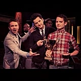 Ben Schwartz and Elijah Wood appeared as guests on The Nerdist TV show with Chris Hardwick. Source: Instagram user rejectedjokes